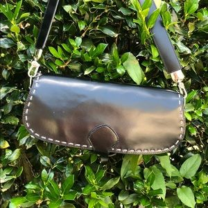 Genuine Leather black purse with white stitching